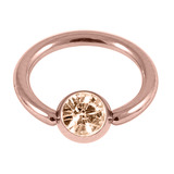 Rose Gold Steel Jewelled Ball Closure Ring (BCR) (Rose Gold colour PVD) 1.2mm, 10mm, 4mm / Peach