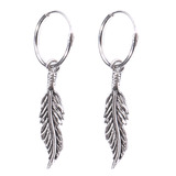 Sterling Silver Hoops - Earrings with Drop Feather H142 H142:- Piercing Gauge 0.5mm. Perceived Gauge 1.2mm. Internal Diameter 10mm. (1 PAIR). Total Length of Feather charm is 23mm.