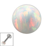 Synthetic Opal Threaded Balls 1.2mm, 3mm, White Opal