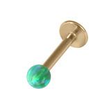 Zircon Steel Labret with Synthetic Opal Ball 1.2mm 1.2mm, 6mm 3mm, Green Opal
