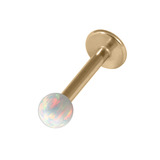 Zircon Steel Labret with Synthetic Opal Ball 1.2mm 1.2mm, 8mm 3mm, White Opal