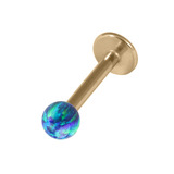 Zircon Steel Labret with Synthetic Opal Ball 1.2mm 1.2mm, 10mm 3mm, Blue Opal