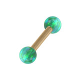 Zircon Steel Micro Barbell with Synthetic Opal Ball Double Ended 1.2mm 1.2mm, 12mm, 3mm, Green Opal