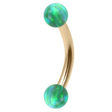 Zircon Steel Micro Curved Barbell with Synthetic Opal Balls 1.2mm 1.2mm, 6mm, 3mm, Green Opal