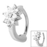 Steel Huggie Belly Clicker Ring - Jewelled Daisy Flower - SKU 29244