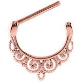 Rose Gold Steel Filigree Nipple Clicker Ring (Rose Gold colour PVD) 1.6mm, 14mm, Rose Gold Steel Filigree