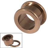 Vintage Copper Steel Screw Flesh Tunnels - Rounded 14mm. Total external height of tunnel is 11.5mm.