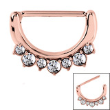 Rose Gold Steel Jewelled Nipple Clicker Ring (Rose Gold colour PVD) 1.6mm, 14mm, Crystal Clear