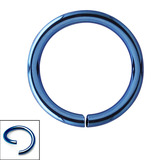 Titanium Continuous Rings (Seamless Ring) 0.8mm, 7mm, Blue
