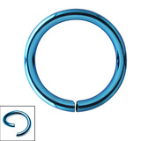 Titanium Continuous Rings (Seamless Ring) 0.8mm, 8mm, Turquoise