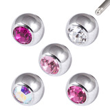 Multipack - Surgical Steel Threaded Jewelled Balls Set - SKU 29419