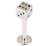 Steel Labrets with Steel Attachments 1.2mm 1.2mm, 5mm, Steel Dice