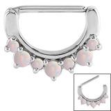 Steel Claw Set Opal Nipple Clicker Ring 1.6mm, 14mm, White Opal