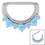 Steel Claw Set Opal Nipple Clicker Ring 1.6mm, 14mm, Light Blue Opal