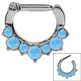 Steel Septum Clicker Ring Synthetic Opal 1.2mm, 8mm, Light Blue Opal