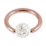 Rose Gold Steel BCR with Smooth Glitzy Ball 1.2mm - SKU 29786