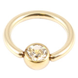 Zircon Steel Jewelled Ball Closure Ring (BCR) (Gold colour PVD) 1.2mm, 9mm, 4mm