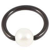 Black Steel BCR with Acrylic Pearl Ball 1.2mm, 9mm, 4mm
