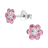 Sterling Silver Pink Crystal Flower Ear Stud Earrings - SKU 30482