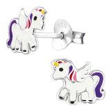 Sterling Silver Winged Unicorn Ear Stud Earrings - SKU 30485