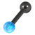 Black Steel Barbell with Synthetic Opal Ball Single Ended 1.6mm - SKU 30742