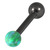 Black Steel Barbell with Synthetic Opal Ball Single Ended 1.6mm - SKU 30749