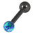 Black Steel Barbell with Synthetic Opal Ball Single Ended 1.6mm - SKU 30751