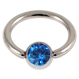 Steel Jewelled BCR 1.6mm Capri Blue / 12