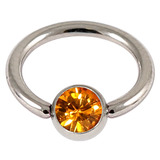 Steel Jewelled BCR 1.6mm Amber / 14