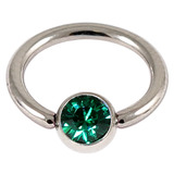 Steel Jewelled BCR 1.6mm Dark Green / 14