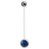 Pregnancy PTFE and Surgical Steel Single Jewelled Belly Bars - SKU 31115