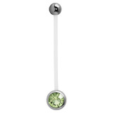 Pregnancy PTFE and Surgical Steel Single Jewelled Belly Bars - SKU 31117
