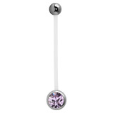 Pregnancy PTFE and Surgical Steel Single Jewelled Belly Bars - SKU 31118