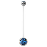 Pregnancy PTFE and Surgical Steel Double Jewelled Belly Bars - SKU 31119