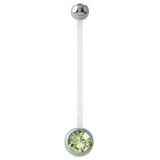 Pregnancy PTFE and Surgical Steel Double Jewelled Belly Bars - SKU 31121