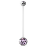 Pregnancy PTFE and Surgical Steel Double Jewelled Belly Bars - SKU 31122