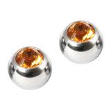 Steel Threaded Jewelled Balls 1.6x6mm Amber - 2 balls (a pair)