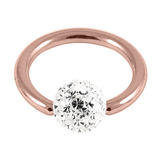 Rose Gold Steel BCR with Smooth Glitzy Ball 1.2mm - SKU 31506