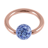 Rose Gold Steel BCR with Smooth Glitzy Ball 1.2mm - SKU 31510