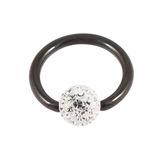 Black Steel BCR with Smooth Glitzy Ball 1.2mm 1.2mm, 7mm, 4mm, Crystal Clear