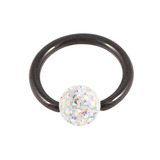 Black Steel BCR with Smooth Glitzy Ball 1.2mm 1.2mm, 11mm, 4mm, Crystal AB