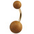 Belly Bar - Zircon Steel with Teak Wood Balls - SKU 32186