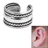 925 Sterling Silver Clip On Ear Cuff - Plain Band with Rope SEC3 - SKU 32574