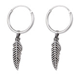 Sterling Silver Hoops - Earrings with Drop Feather H145 - SKU 32605