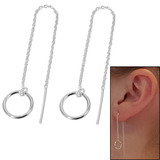 Sterling Silver Threader Earrings with Circle and Bar - SKU 32638