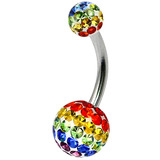 Belly Bar - Steel with Smooth Rainbow Glitzy Balls - SKU 32658