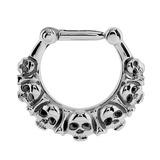 Steel Septum Clicker Ring Skull and Bones - SKU 32662