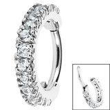 Steel Jewelled Edge Clicker Ring - SKU 32701