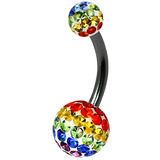 Belly Bar - Steel with Smooth Rainbow Glitzy Balls - SKU 32712