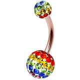 Belly Bar - Steel with Smooth Rainbow Glitzy Balls - SKU 32715
